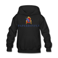 Load image into Gallery viewer, PaperboyFly Kids' Hoodie - black