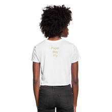 Load image into Gallery viewer, PaperboyFly Dots Women's Cropped T-Shirt - white