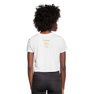 PaperboyFly Dots Women's Cropped T-Shirt - white