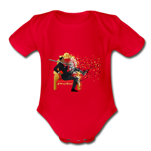 PaperboyFly Short Sleeve Baby Bodysuit - red