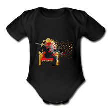 Load image into Gallery viewer, PaperboyFly Short Sleeve Baby Bodysuit - black