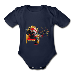 PaperboyFly Short Sleeve Baby Bodysuit - dark navy