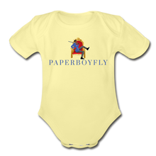 Load image into Gallery viewer, PaperboyFly Climb Short Sleeve Baby Bodysuit - washed yellow