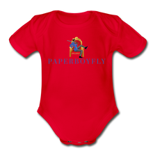 Load image into Gallery viewer, PaperboyFly Climb Short Sleeve Baby Bodysuit - red