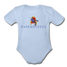Load image into Gallery viewer, PaperboyFly Climb Short Sleeve Baby Bodysuit - sky
