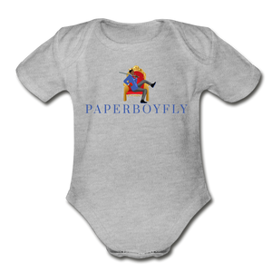 PaperboyFly Climb Short Sleeve Baby Bodysuit - heather gray