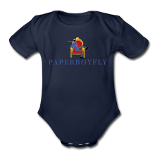 Load image into Gallery viewer, PaperboyFly Climb Short Sleeve Baby Bodysuit - dark navy