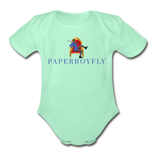 PaperboyFly Climb Short Sleeve Baby Bodysuit - light mint
