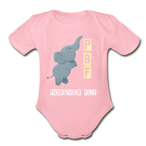 PaperboyFly Short Sleeve Baby Bodysuit - light pink