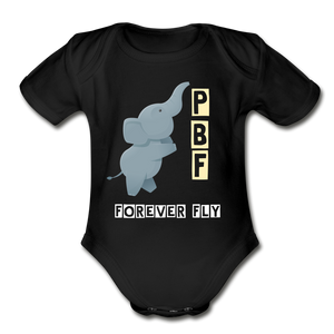 PaperboyFly Short Sleeve Baby Bodysuit - black