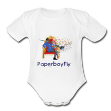 Load image into Gallery viewer, PaperboyFly Short Sleeve Baby Bodysuit - white