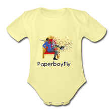 Load image into Gallery viewer, PaperboyFly Short Sleeve Baby Bodysuit - washed yellow