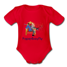 Load image into Gallery viewer, PaperboyFly Short Sleeve Baby Bodysuit - red