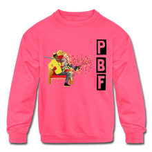 Load image into Gallery viewer, PBF Shatter Kids' Crewneck Sweatshirt - neon pink