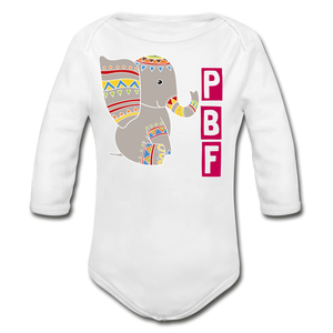 PaperboyFly Long Sleeve Baby Bodysuit - white