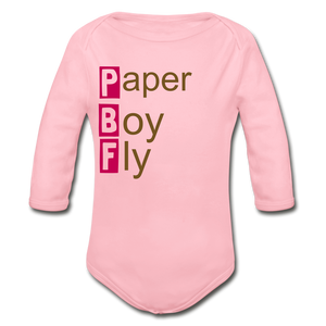 PaperboyFly Long Sleeve Baby Bodysuit - light pink