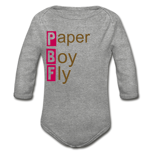PaperboyFly Long Sleeve Baby Bodysuit - heather gray