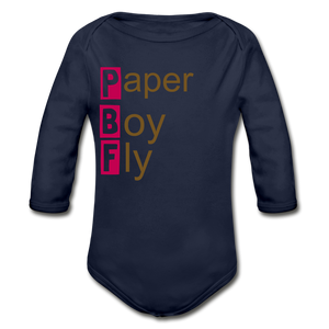PaperboyFly Long Sleeve Baby Bodysuit - dark navy