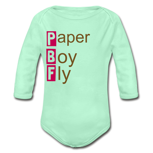 PaperboyFly Long Sleeve Baby Bodysuit - light mint