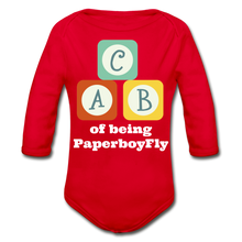 Load image into Gallery viewer, PaperboyFly Long Sleeve Baby Bodysuit - red