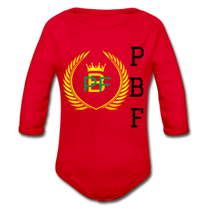 PaperboyFly Long Sleeve Baby Bodysuit - red