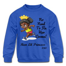Load image into Gallery viewer, PBF Run Kids' Crewneck Sweatshirt - royal blue