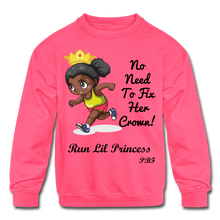 Load image into Gallery viewer, PBF Run Kids' Crewneck Sweatshirt - neon pink
