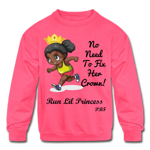PBF Run Kids' Crewneck Sweatshirt - neon pink