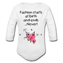 Load image into Gallery viewer, PBF ButterFly Organic Long Sleeve Baby Bodysuit - white