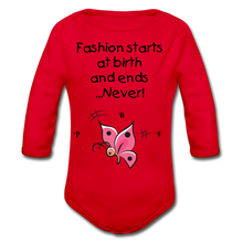Load image into Gallery viewer, PBF ButterFly Organic Long Sleeve Baby Bodysuit - red