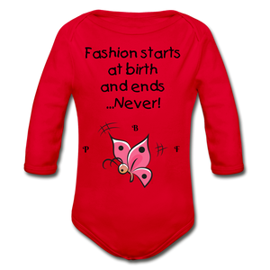 PBF ButterFly Organic Long Sleeve Baby Bodysuit - red