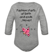 Load image into Gallery viewer, PBF ButterFly Organic Long Sleeve Baby Bodysuit - heather gray