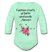 Load image into Gallery viewer, PBF ButterFly Organic Long Sleeve Baby Bodysuit - light mint