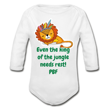 Load image into Gallery viewer, PBF Lion Organic Long Sleeve Baby Bodysuit - white