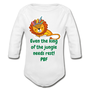 PBF Lion Organic Long Sleeve Baby Bodysuit - white