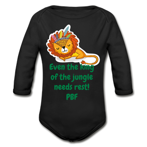 PBF Lion Organic Long Sleeve Baby Bodysuit - black