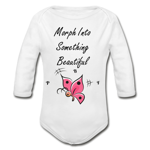 PBF ButterFly Organic Long Sleeve Baby Bodysuit - white