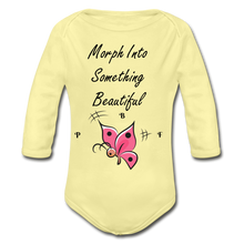 Load image into Gallery viewer, PBF ButterFly Organic Long Sleeve Baby Bodysuit - washed yellow