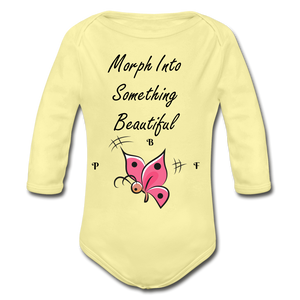 PBF ButterFly Organic Long Sleeve Baby Bodysuit - washed yellow