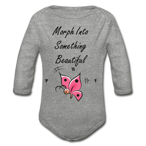 PBF ButterFly Organic Long Sleeve Baby Bodysuit - heather gray