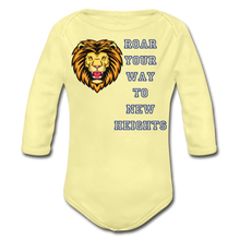Load image into Gallery viewer, PBF Lion Organic Long Sleeve Baby Bodysuit - washed yellow