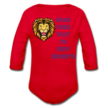 Load image into Gallery viewer, PBF Lion Organic Long Sleeve Baby Bodysuit - red
