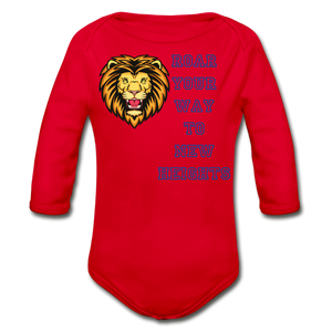 PBF Lion Organic Long Sleeve Baby Bodysuit - red