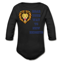 Load image into Gallery viewer, PBF Lion Organic Long Sleeve Baby Bodysuit - black