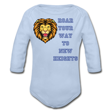 Load image into Gallery viewer, PBF Lion Organic Long Sleeve Baby Bodysuit - sky