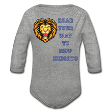 Load image into Gallery viewer, PBF Lion Organic Long Sleeve Baby Bodysuit - heather gray