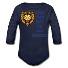 Load image into Gallery viewer, PBF Lion Organic Long Sleeve Baby Bodysuit - dark navy