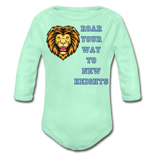 Load image into Gallery viewer, PBF Lion Organic Long Sleeve Baby Bodysuit - light mint