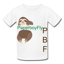Load image into Gallery viewer, PBF Sloth Youth Tagless T-Shirt - white