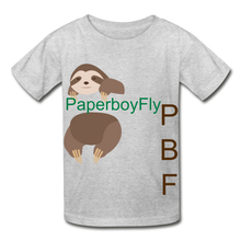 Load image into Gallery viewer, PBF Sloth Youth Tagless T-Shirt - heather gray